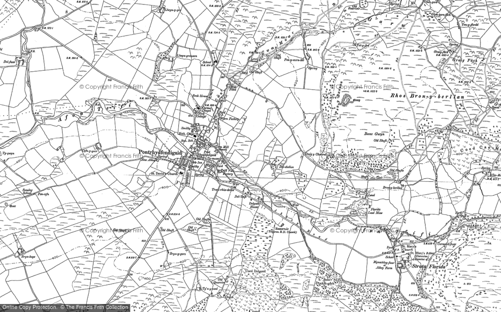 Old Map of Historic Map covering Afon Fflûr in 1886