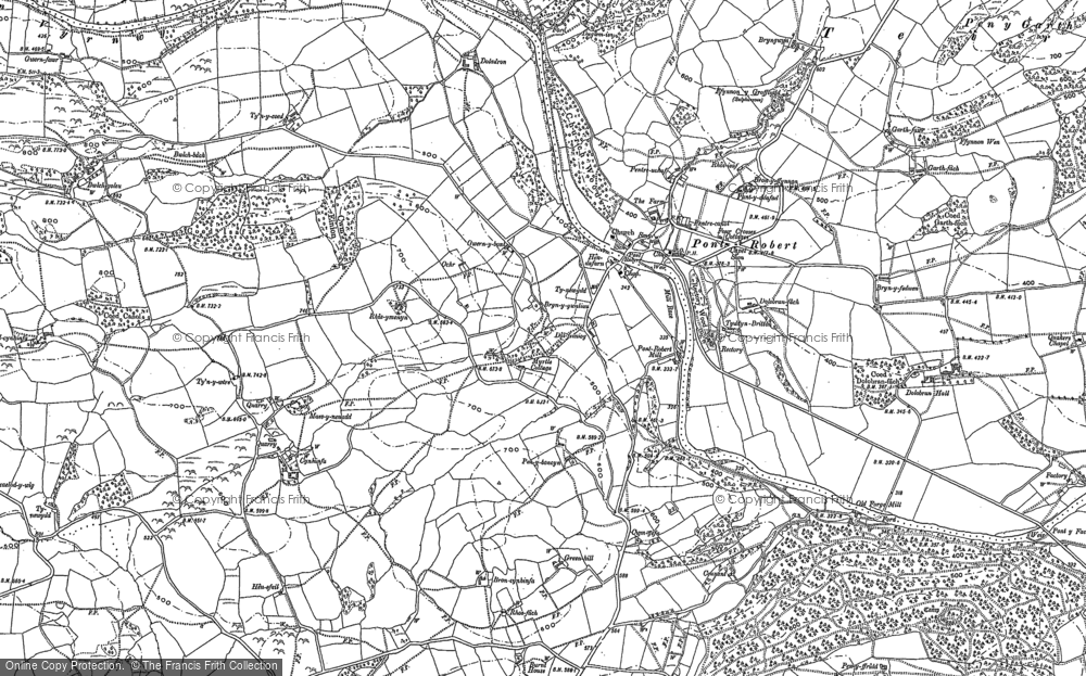 Old Map of Pontrobert, 1885 in 1885