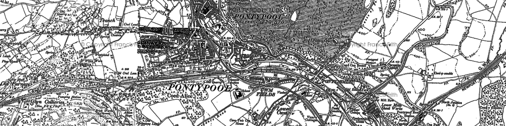 Old map of Pontypool in 1899