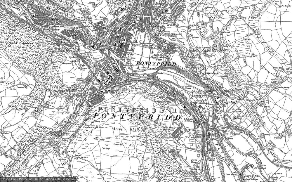 Old Map of Pontypridd, 1898 in 1898