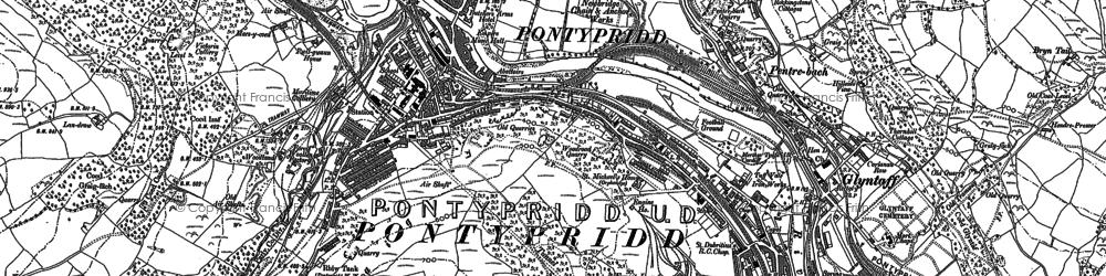 Old map of Pontypridd in 1898