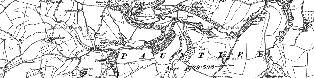 Old map of Pauntley Court in 1882