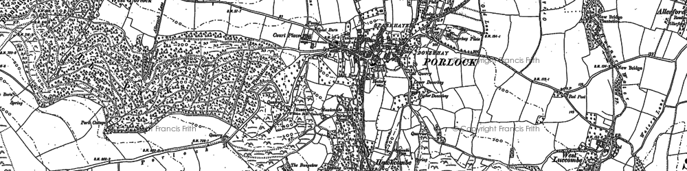 Old map of Porlock in 1902