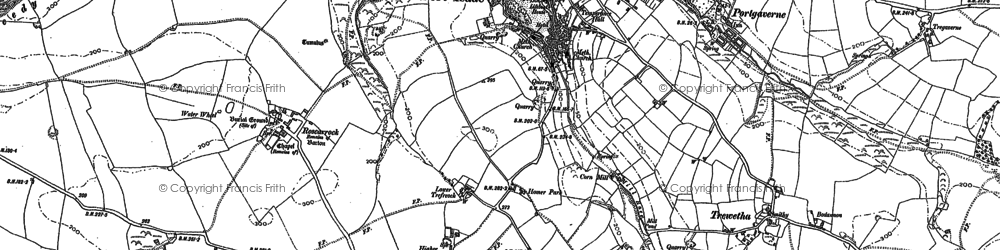 Old map of Port Isaac in 1880
