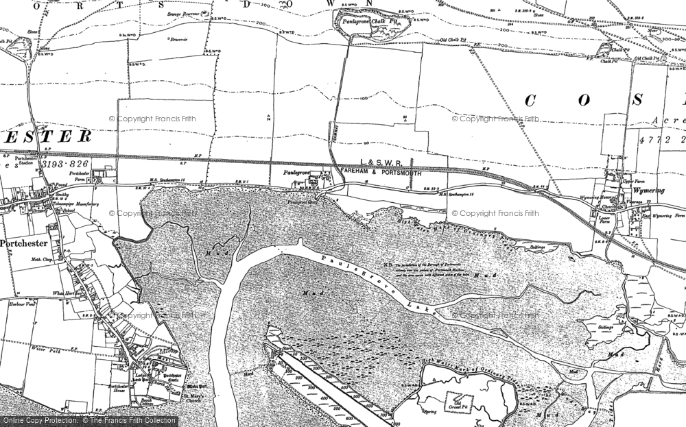 Old Map of Historic Map covering Tipner in 1895