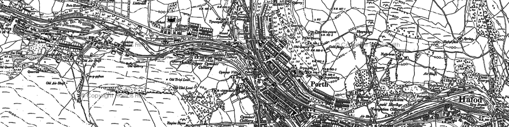 Old map of Porth in 1898