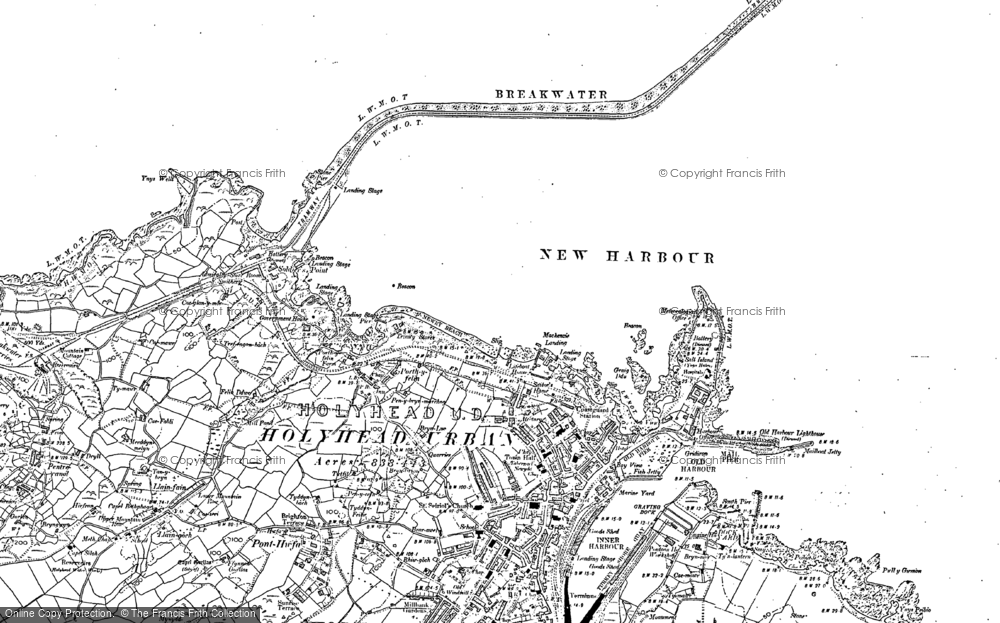 Old Map of Historic Map covering Llaingoch in 1899