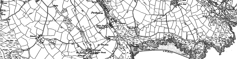 Old map of Porthcurno in 1906