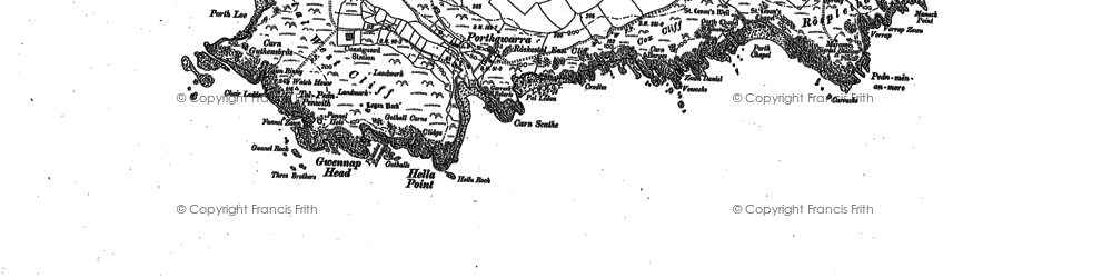 Old map of Zawn Kellys in 1906