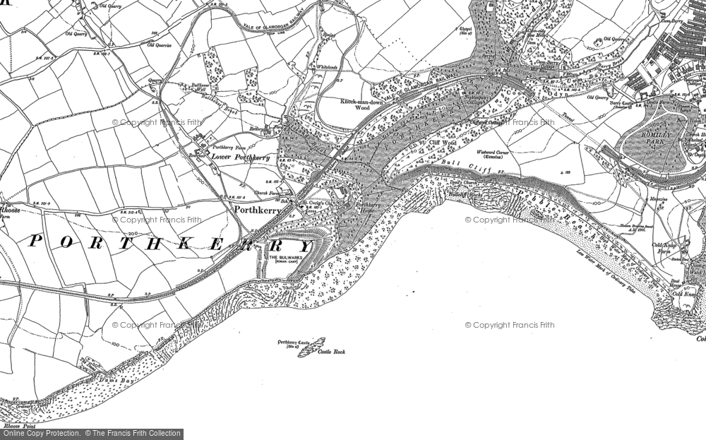 Old Map of Porthkerry, 1914 - 1915 in 1914