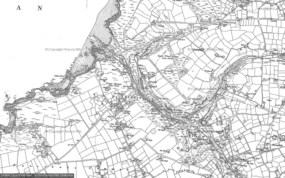 Old Map of Porthtowan, 1906 in 1906