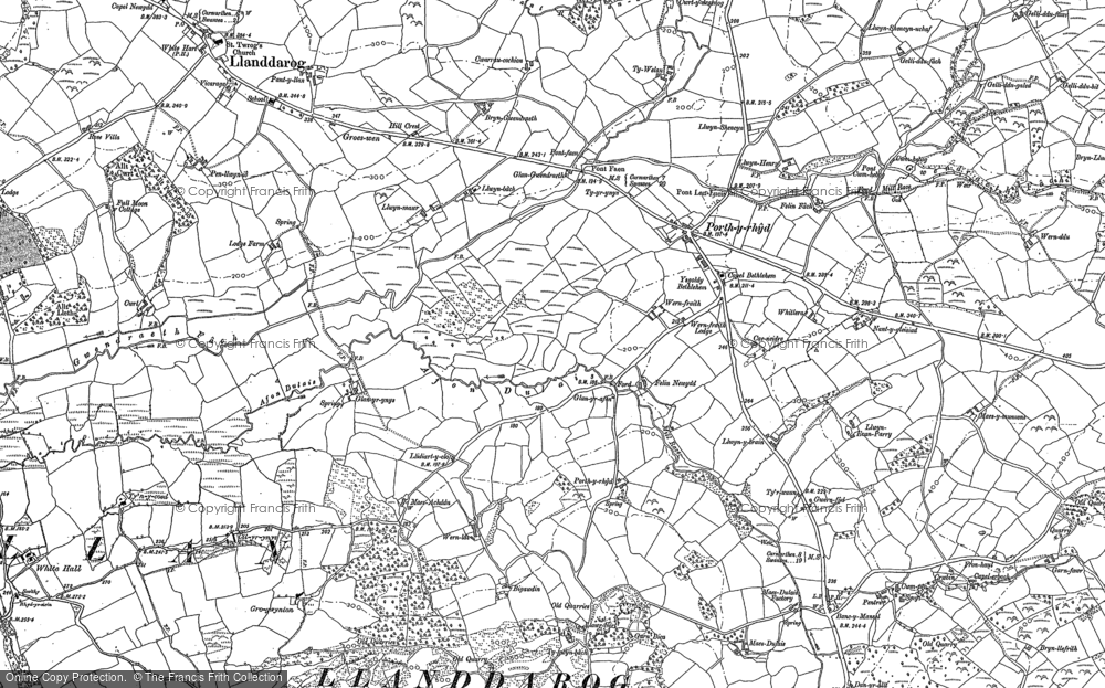 Old Map of Historic Map covering Lanfawr in 1886