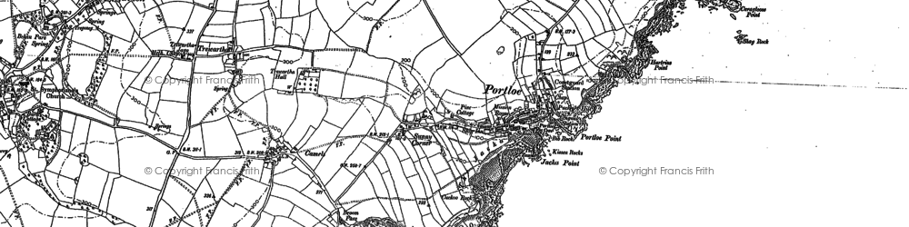 Old map of Portloe in 1879