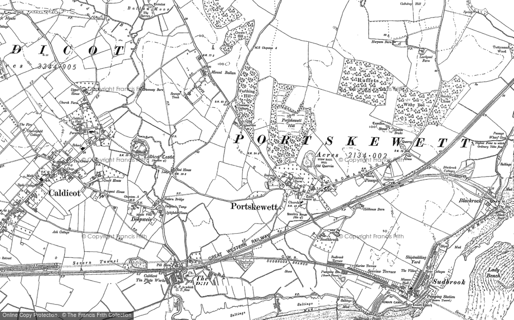 Old Map of Historic Map covering Leechpool in 1900