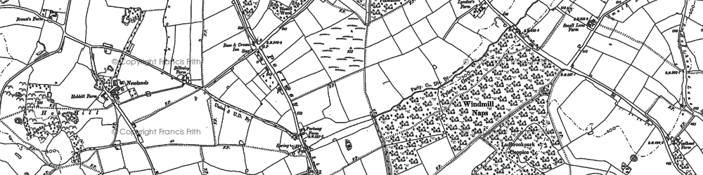 Old map of Branson's Cross in 1883