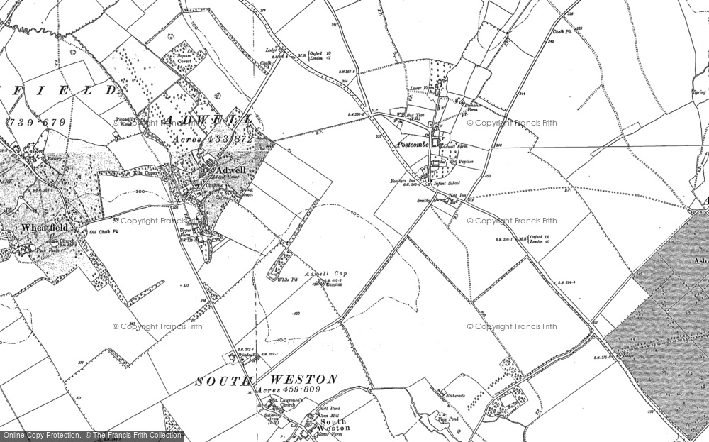 Old Map of Historic Map covering Adwell Cop (Mound) in 1897