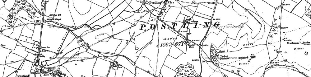 Old map of Tolsford Hill in 1896
