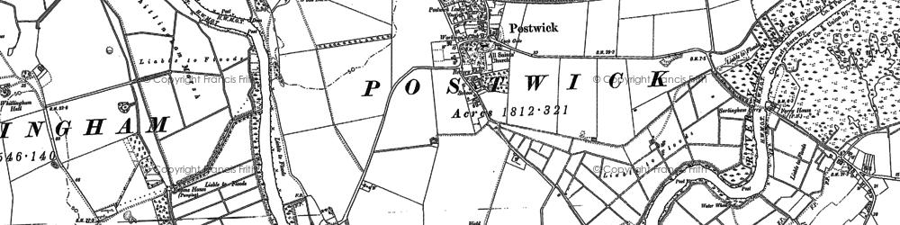 Old map of Whitlingham Marsh in 1881