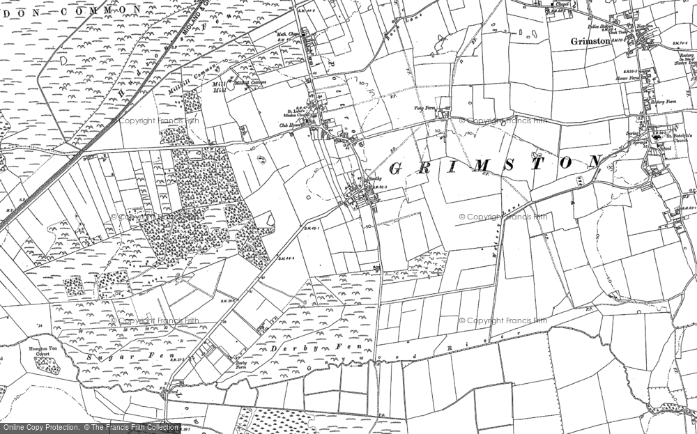 Old Map of Historic Map covering Leziate Fen in 1884