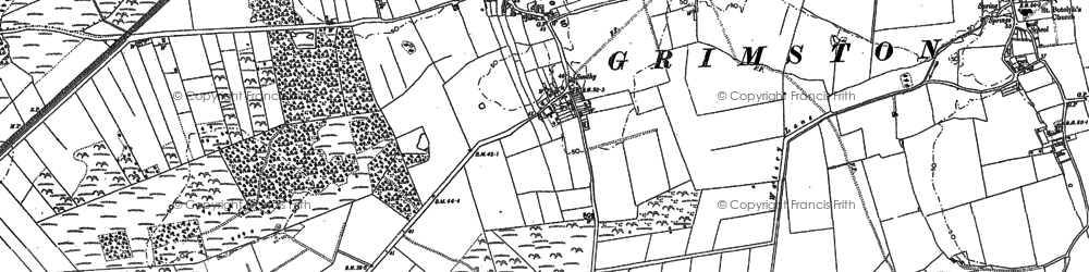 Old map of Leziate Fen in 1884