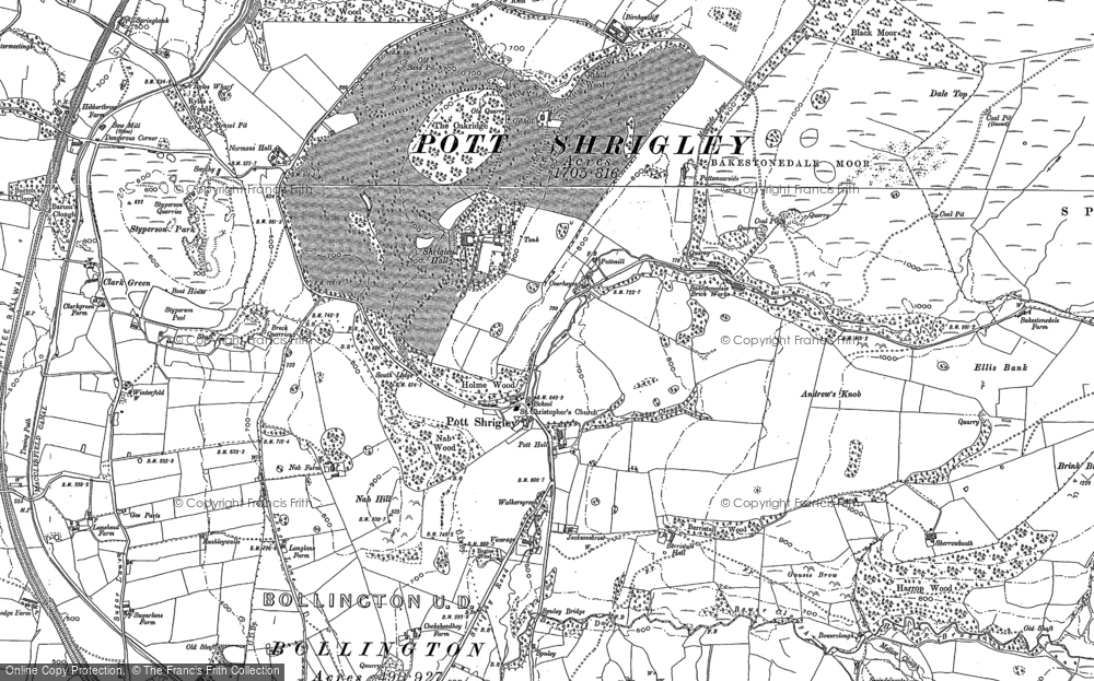 Old Map of Historic Map covering Bakestonedale Moor in 1907