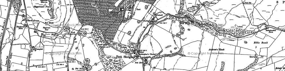 Old map of Bakestonedale Moor in 1907