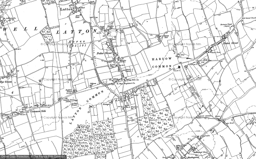 Old Map of Historic Map covering Latton Bush in 1895