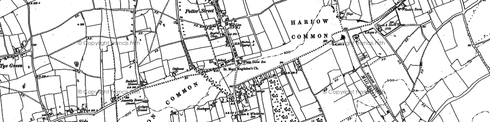 Old map of Latton Bush in 1895