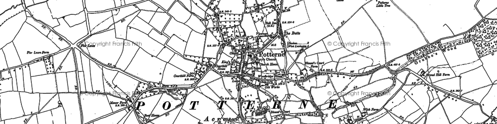 Old map of Potterne in 1899