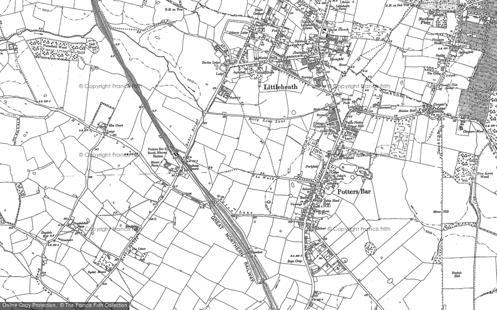 Old Map of Historic Map covering Leggatts Park in 1912