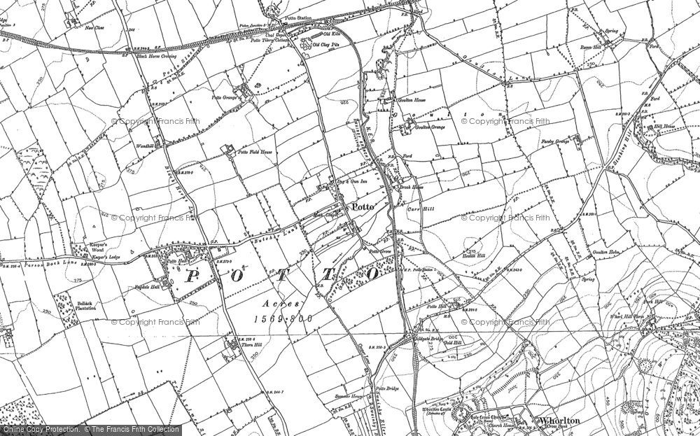 Old Map of Historic Map covering Toft Hill in 1892