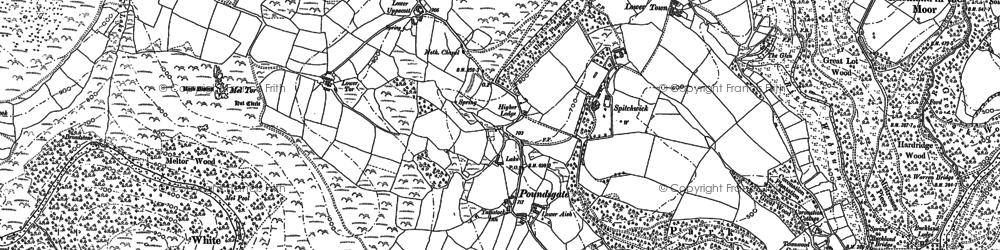 Old map of Aish Tor in 1884