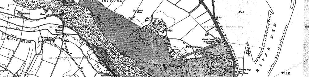 Old map of Powderham in 1888