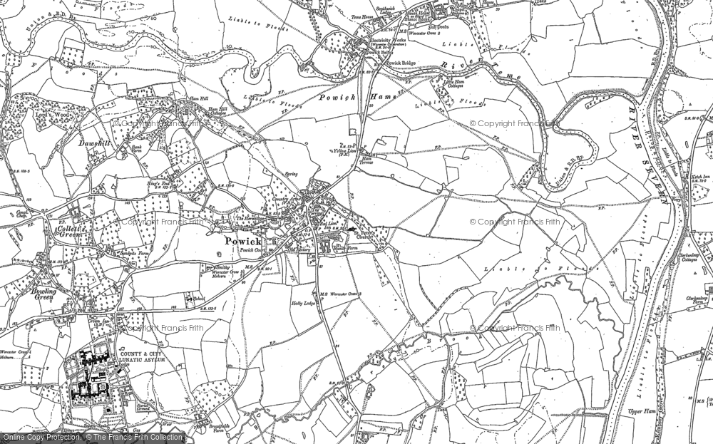Old Map of Powick, 1884 in 1884