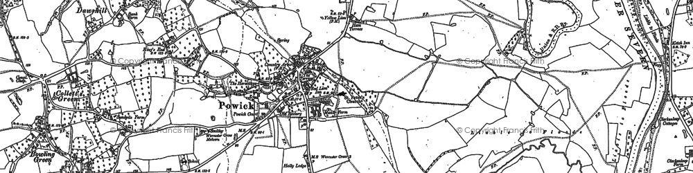 Old map of Powick in 1884