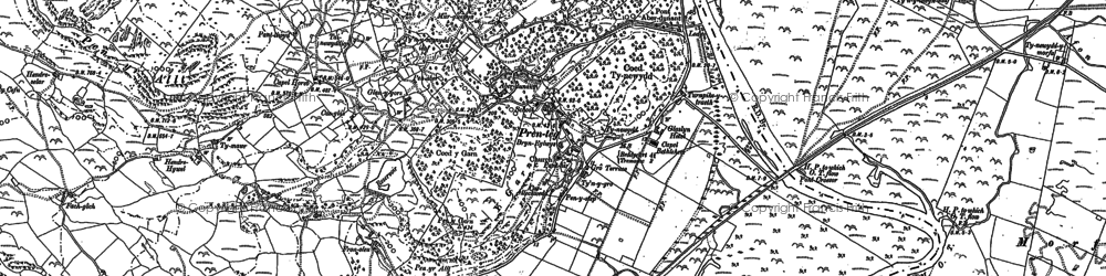 Old map of Afon Glaslyn in 1899