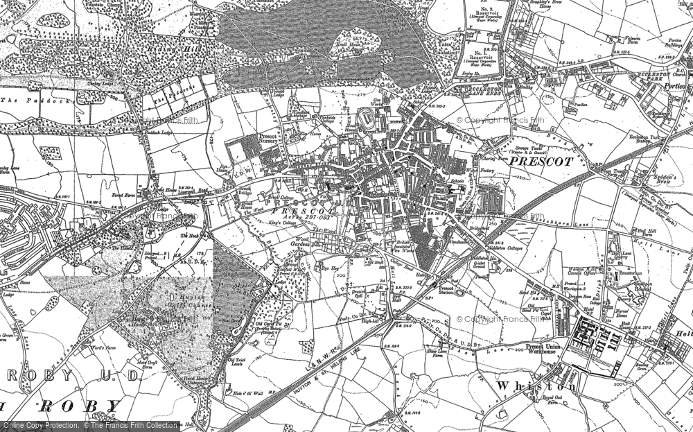 Old Map of Prescot, 1891 in 1891