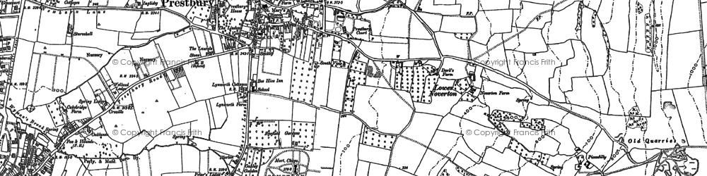 Old map of Prestbury in 1883