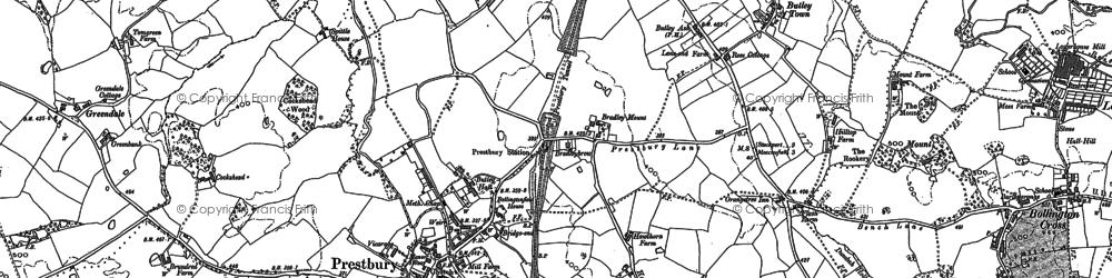Old map of Prestbury in 1896