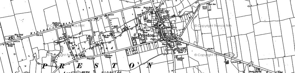 Old map of Preston in 1889
