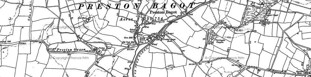 Old map of Preston Bagot in 1886