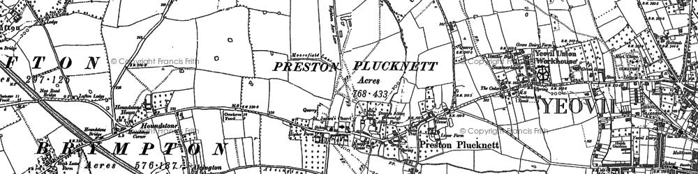 Old map of Preston Plucknett in 1886