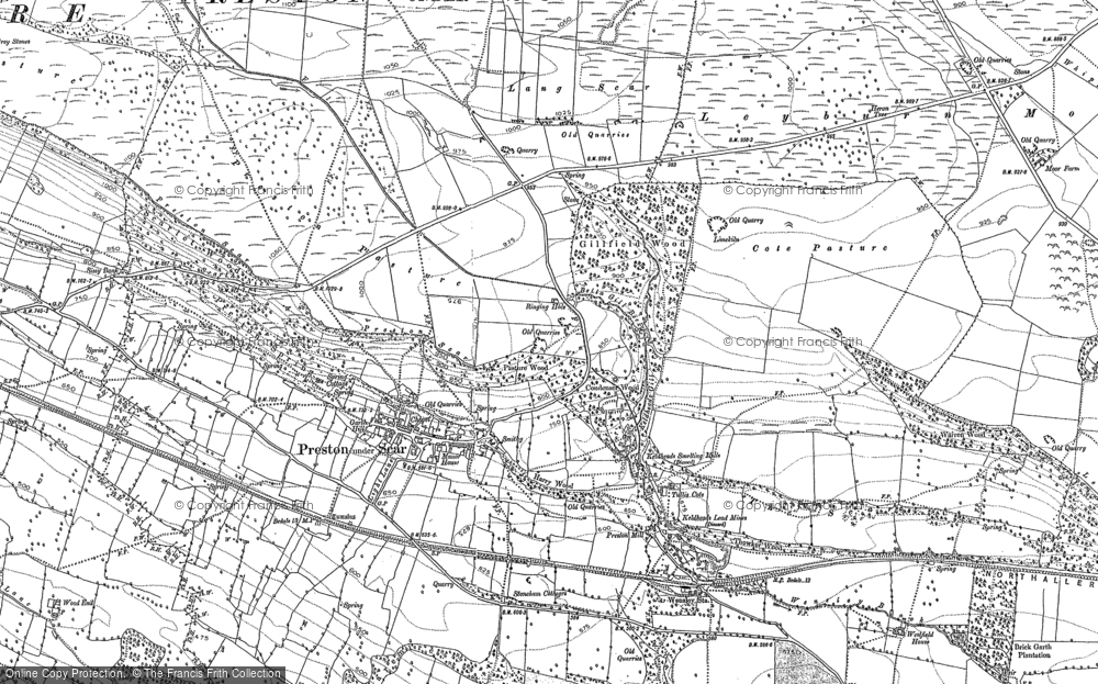 Old Map of Historic Map covering Layburn Moor in 1891