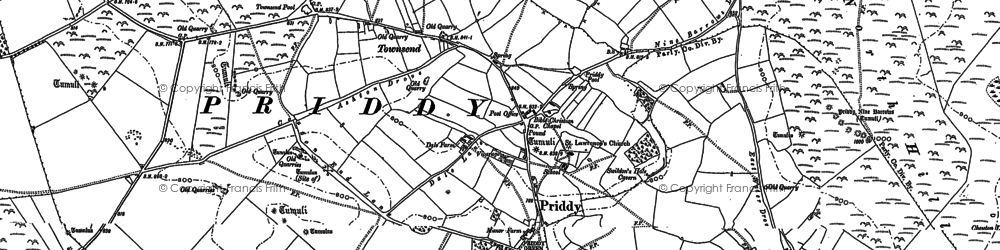 Old map of Priddy in 1884