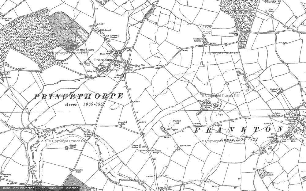 Old Map of Historic Map covering Woodhouse, The (Hotel) in 1885