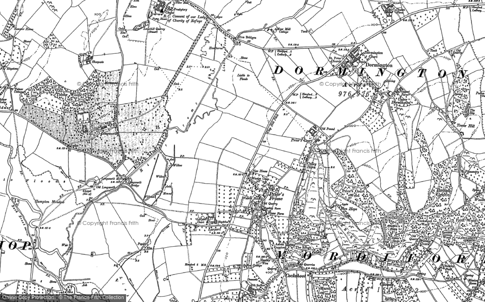 Old Map of Historic Map covering Backbury Hill in 1886