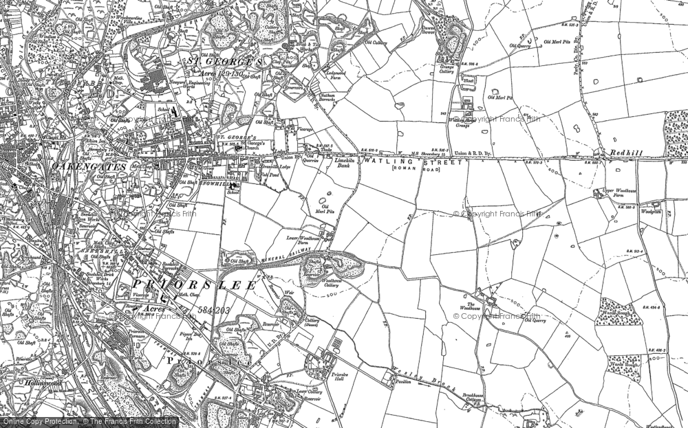 Old Map of Historic Map covering Woodhouse, The in 1882