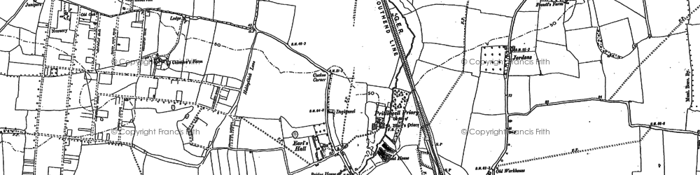 Old map of Prittlewell in 1895