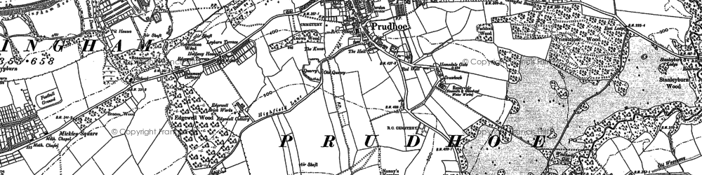 Old map of Prudhoe in 1914