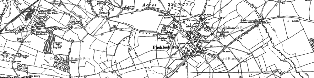 Old map of Pucklechurch in 1881